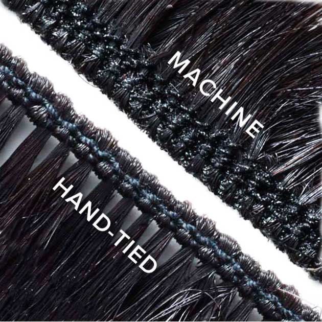 Choice of hand-tied or machine weft